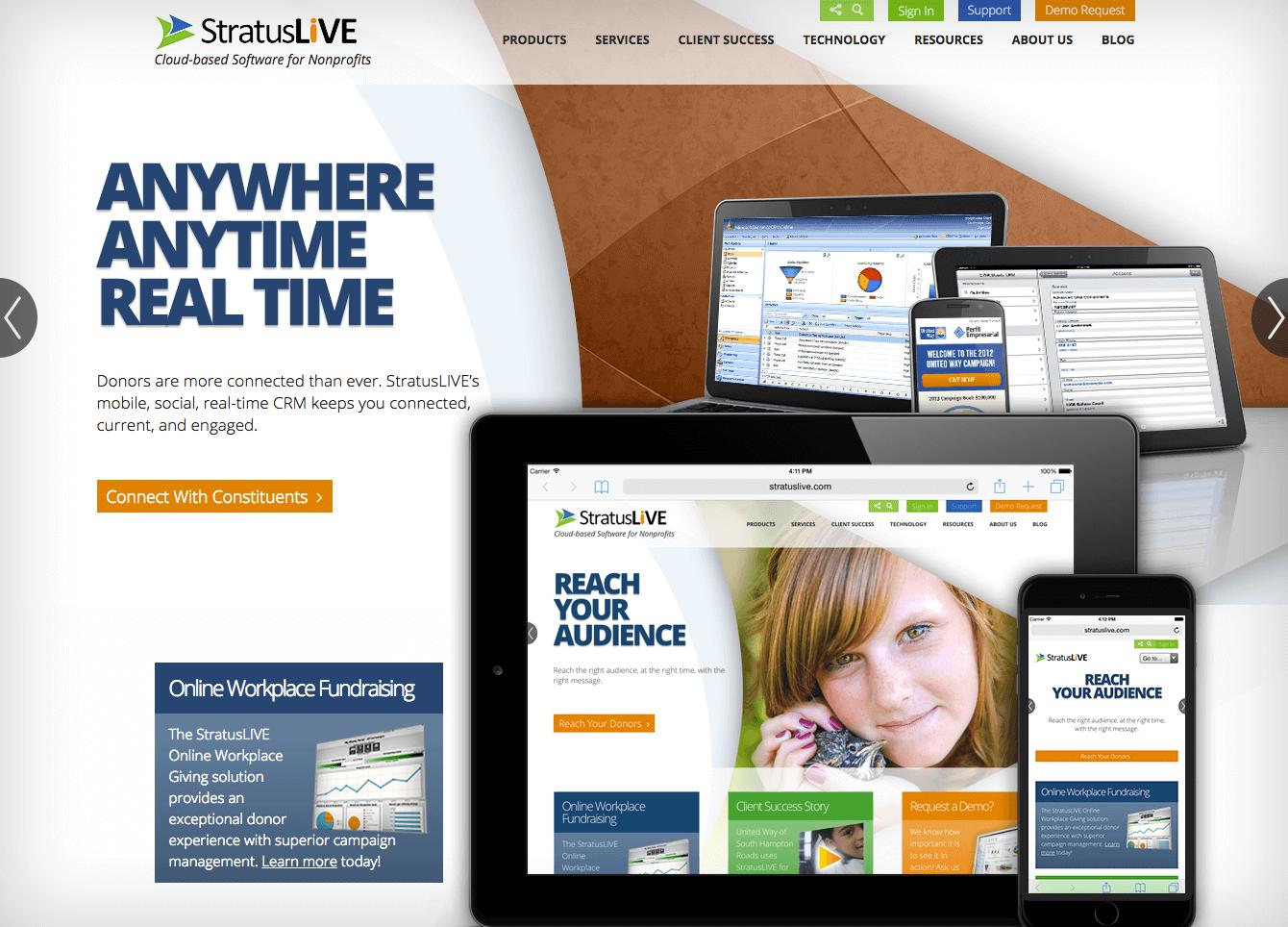 Web design sample - StratusLIVE